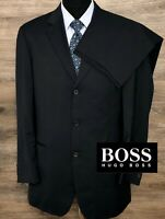BOSS Hugo Boss Mens Wool Metallizzato Super 120 Navy Blue Striped Suit 40L 33X30