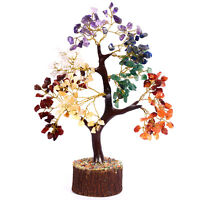 Seven Chakra Bonsai Money Tree Healing Stone Feng Shui (Golden Wire)