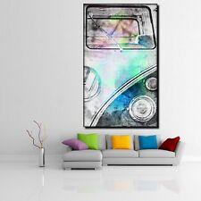 LEINWANDBILD ER XXL POP ART VW BULLI T1 BUS BULLY VAN ABSTRAKT POSTER 90x150