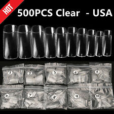 500pcs Clear Nails Half French False Nail Art Tips Acrylic Uv Gel Manicure Tips