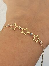 Solid 14k Gold Ball Beads star Bracelet Diamond Cut Womans adjustable size