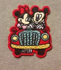 micky and minnie in car iron on patch 7cm x 8.5cm