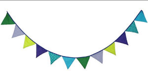 3M Lovely Floral Cotton Fabic Buntings 12 Flags Double Sided Party Banner (B)