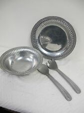 WILTON ARMETALE RWP  PEWTER SALAD BOWL  UTENSILS PLATTER 4 PCS FLUTES PEARLS
