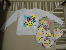 NWT JUSTICE GIRLS HUGS EMOJI PAJAMA SET 14 PLUS