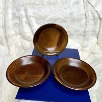 Vintage 1970's Mid Century Vermillion Real Walnut 6in Wood Bowls – Set of 3