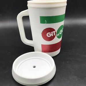 Git n Go Get & Go Convenience Store Travel Mug Cup 20 Oz Aladdin USA White Lid