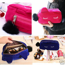 Blue Cosmetic Make-Up Bag Case Organizer Zipper Holder Travel Toiletry Handbag