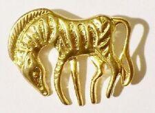 broche bijou vintage années 80 zèbre en relief de couleur or poli * 3588