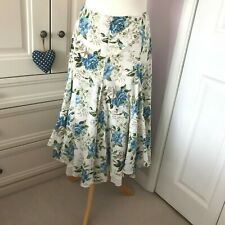 Per Una Blue & Cream Floral Broderie Anglaise Hitched Skirt w Petticoat UK 16L