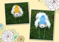 XS,S & M handmade knit Blue/Gold dog hat