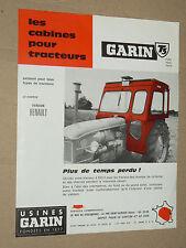 Prospectus Cabine GARIN Tracteur RENAULT Vallée aux Blés traktor tractor