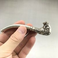 Chinese ancient Tibetan silver pure hand-carved cigarette holder statue.