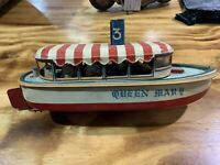 1950's Queen Mary Battery Operated Tin Toy Boat From SAN Made in Japan