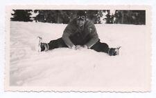 PHOTO ANCIENNE Femme Ski Sports d'hiver Snapshot 1936 Neige Curiosité Lunettes
