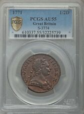 ENGLAND GEORGE III 1771 HALF-PENNY COIN, ALMOST UNCIRCULATED CERTIFIED PCGS AU55