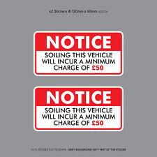 Minimum salissures charge £ 50 Autocollant Idéal Pour Taxi Voiture Bus Minibus-SKU3139