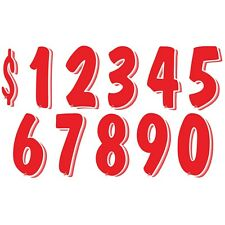 7 1/2 Inch White & Red Numbers Windshield Pricing Stickers Car Dealer You Pick