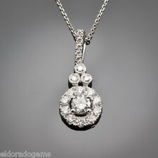 "SOLITAIRE NECKLACE - 1.25 CT. DIAMOND CLUSTER PENDANT 14K WHITE GOLD 18"" CHAIN"