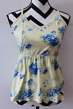 Women's ABERCROMBIE & FITCH Yellow Blue Floral Strappy Cami Tank Top Sz Lg #225