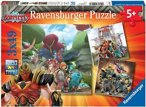 Gormiti Box Set 3 Diversi Puzzle 3 X 49 Pieces 21x21cm RAVENSBURGER Original