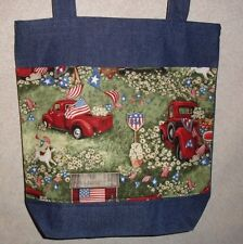 New Handmade Large Usa Patriotic Flag Country Americana July 4th Denim Tote Bag
