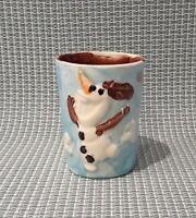 Happy Snowman Handmade Studio Art Pottery Mug Rustic Coffee / Tea Mug Stoneware