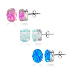 925 Silver 1.65ct Green White Pink Created Opal 5x3 Oval Stud Earrings, Set of 3
