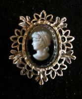 Vintage Black Glass Silver Tone Intaglio Cameo Type Large Brooch Pin