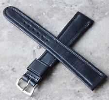 Extra Long 1950s strong Cowhide Leather 19mm vintage watch band all stitched NOS