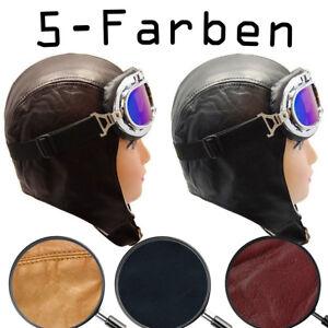 Cabriohaube Leder Schwarz Braun usw Fliegermütze - Oldtimermütze + Brille GRATIS