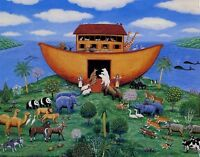 NOAH'S ARK: Loading Animals - Cute Art Print 10x8 In.