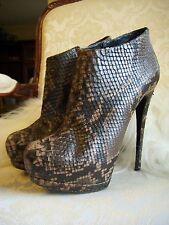 Authentic GIUSEPPE ZANOTTI Eva Platform Ankle Snakeskin Booties Shoes Size 36.5