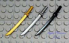 NEW Lego Ninjago Set/3 Ninja Katana SWORDS Gold/Silver-Gray/Black Minifig Weapon