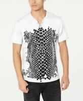 I.n.c. Men's Split Neck Short Sleeve Crocodile Print T-Shirt (White, XL)