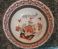 Vintage Hand painted Chinese Large Bowl colorful butterflies qianlong markings