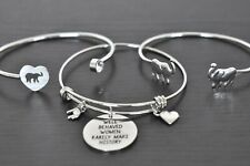 Theme Stainless Steel Bracelets! Trunks Up! Three (3) Elephant