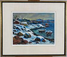 Oscar Sundberg (b.1920 ) Norwegian Listed Vintage 1950's Oslo Fjord Oil/Panel