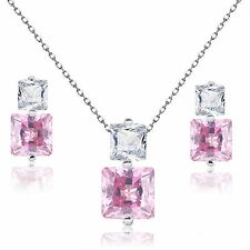 Princess Pink Simulated Diamond Sterling Silver Necklace & Earring Set