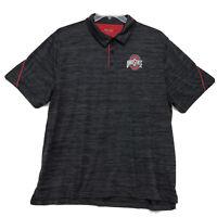 Ohio State Polo Golf Shirt Mens Size 2XL XXL Heathered Gray Short Sleeve Dri Fit