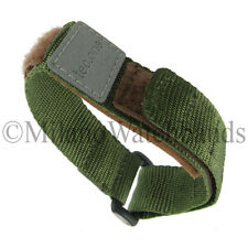 16-20mm Tec One Green Nylon Hook & Loop Fastener Sports Wrap Watch Band Strap