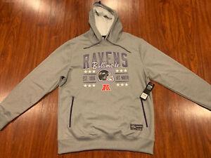 NFL Men's Baltimore Ravens Gray Hoodie Sweatshirt Large L Football MSRP 85