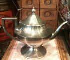 Antique Tea Pot Sterling Plate Pewter Colonial Style 1890s Knickerbocker Head