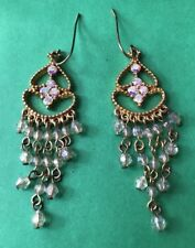 Gold Color Clear Translucent Beaded Dangle Earring Wire Pierced Fashion Jewelry