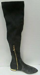 Women's Juicy Couture Black Label Bella Above Knee Grey Suede Boots - Size UK 3
