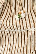 Extra long brown striped satin brocade curtains French chateau Hollywood Regency