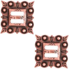 """2 Pack 1-1/2"""" Antiqued Copper Square Berry Slotted Concho"""