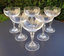 Lot 6 anciens verres coupes à champagne en cristal vintage glass crystal