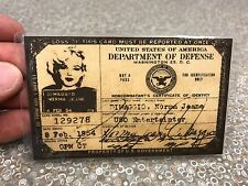 Marilyn Monroe 1954 USA USO Id Card License Drivers