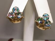 VINTAGE 1940'S RETRO AMCO GOLD FILLED FOILED MULTI COLOR RHINESTONE EARRINGS!